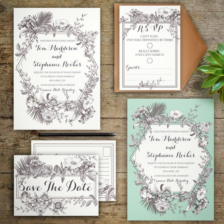 fun modern wedding invitations%0A NEW Personalised Beautiful Botanical Wedding Invitations and RSVP with hand  drawn florals and playful modern calligraphy