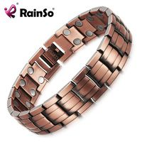 RainSo Red Copper Magnetic Bracelet for Men Women 2 Row Magnet Healthy Bio Energy Bracelets & Bangles Luxury Gift