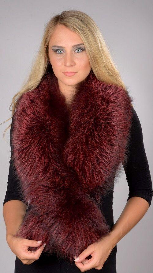 Collo in pelliccia in volpe rossa tinta  www.amifur.it