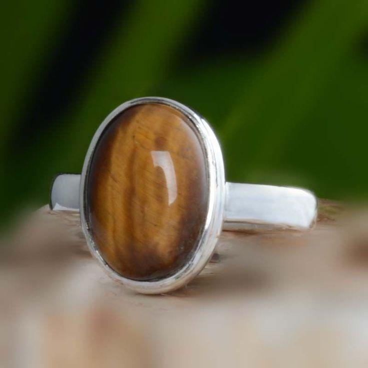 925 STERLING SILVER YELLOW TIGER EYE RING 5.21g DJR10645 SZ-9 #Handmade #Ring