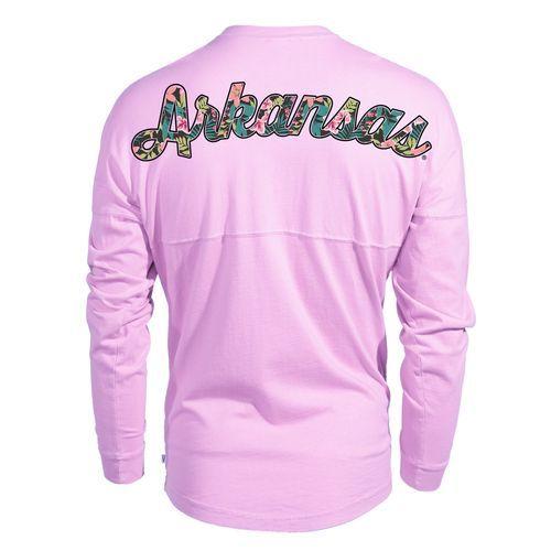 Venley Women's University of Arkansas Hawaiian Spirit Long Sleeve Football T-shirt