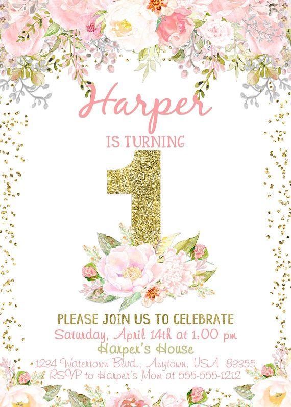 1st Birthday Floral Invitationblush Birthday Invitegirl 1st Birthday Invitations Girl Flower Birthday Invitations First Birthday Invitations