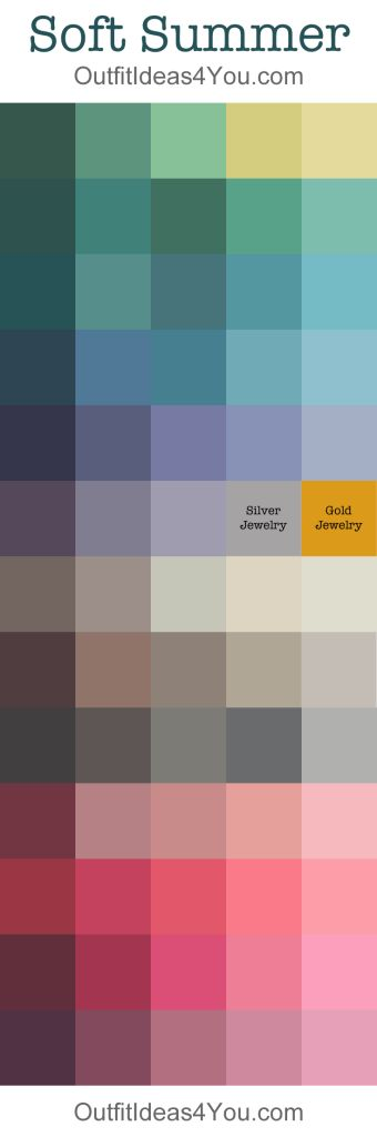 Here is your complete soft summer color palette!  Not sure if you are a Soft Summer? Take the online seasonal color analysis quiz <= Click here to take the quiz. Soft Summer Seasonal Color Analysis: Cool, Soft and Muted Your dominant characteristic is soft and muted. A soft summer's colo