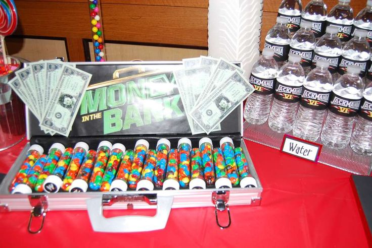 WWE birthday party- JackMania   CatchMyParty.com- i am obsessed with the money in the bank food