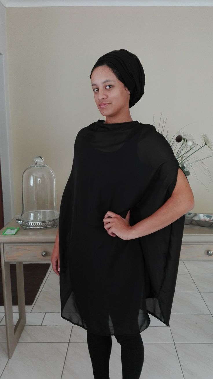 Light Weight Black Chiffon Poncho