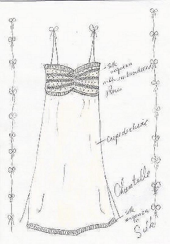 Louise's drawing of silk sleepwear Chantelle