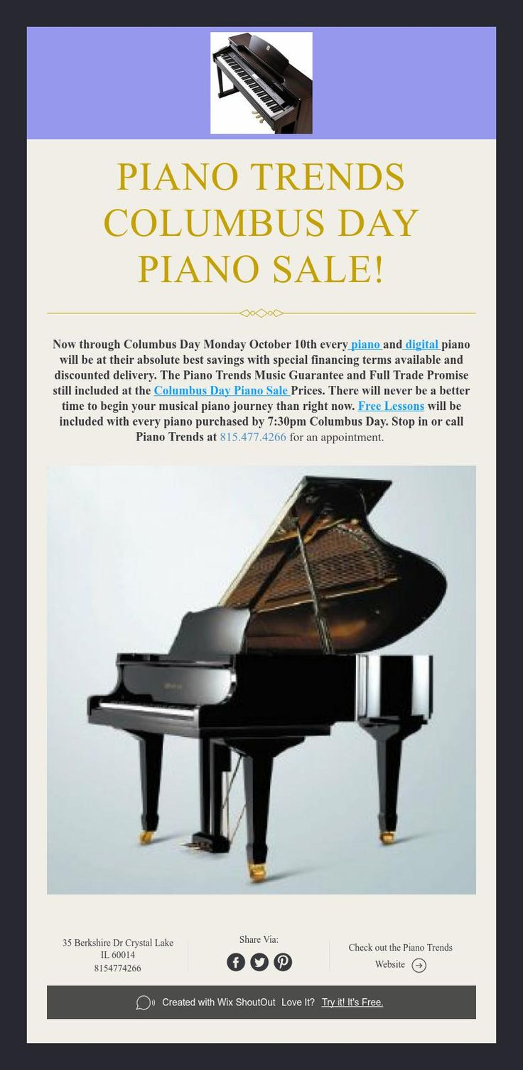 Piano Trends Columbus Day  Piano Sale!