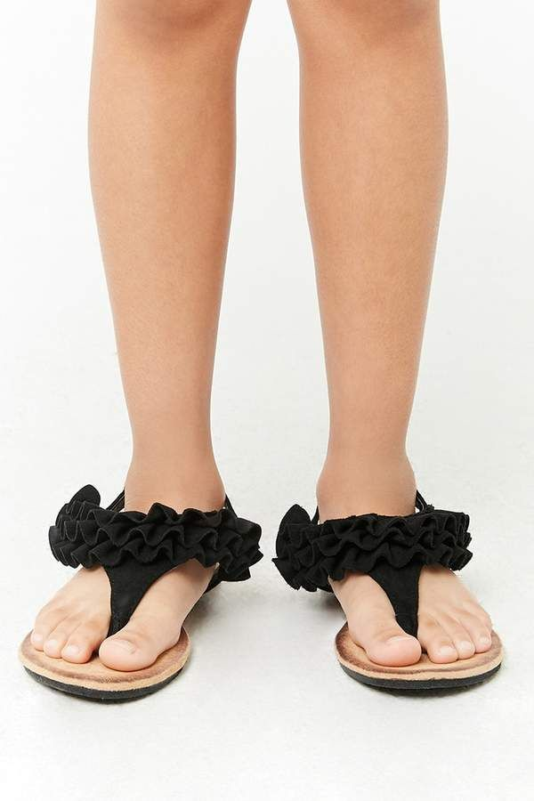 Girls Faux Suede Ruffle Sandals (Kids
