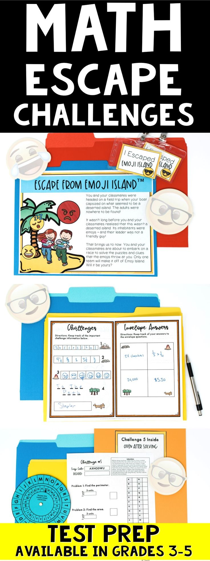 Math Escape Challenges are so awesome for test prep! Banish boring test prep and help your students practice multiplication, division, addition, subtraction, fractions, geometry, and more with this escape classroom for 3rd, 4th, or 5th grade math.