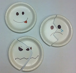 Paper Plate Feelings-Group Activity: Give out halves to different kids, who walk around to find their matching partner.