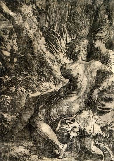 Parmigianino, Lovers, c. 1528, Etching, with engraving and drypoint, The Hermitage, St. Petersburg