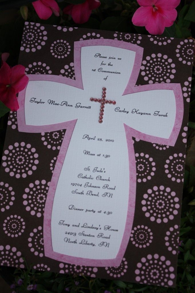 I think I'll use this idea for Ben's First Communion Invitations (but not pink!)