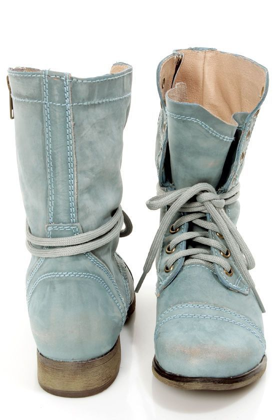 Washed out denim boots // Steve Madden Troopa Blue Leather Lace-Up Combat  Boots AH look at that beautiful color. Steve can do NO wrong :)