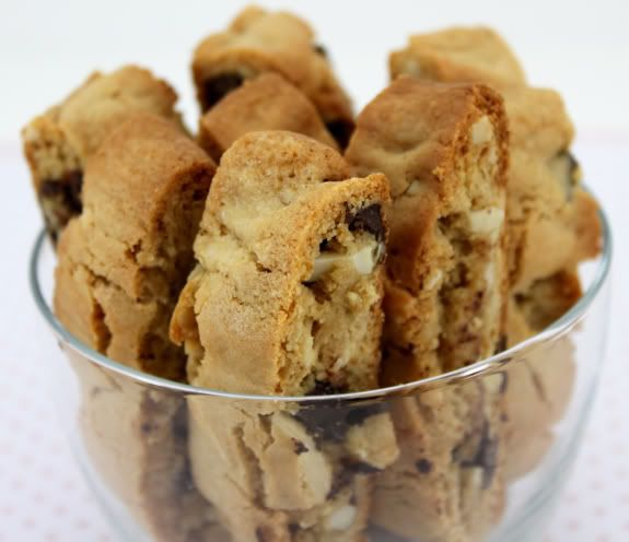 Almond & chocolate chunk biscotti - This was the perfect balance of crunchy & moist. Best Biscotti recipe I've tried. -EH