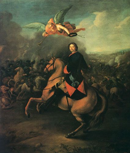 "Johann Gottfried Tannauer. Peter I at the Battle of Poltava. 1724 – 1725. Peter the Great is on his favourite horse ""Lizetta"". #Russian #history #Romanov"