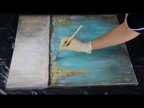 Abstract painting Demo / Gold Leaf / Acrylic / Acrylbild abstrakt mit Blattgold by Victoria – YouTube
