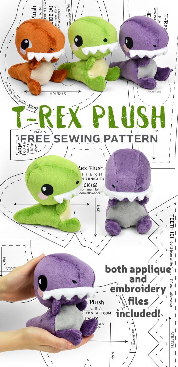 Free Plushie Patterns : plushie, patterns, Pattern, Friday!, T-Rex, Plush, Choly, Knight, Sewing, Stuffed, Animals,, Animal, Patterns,