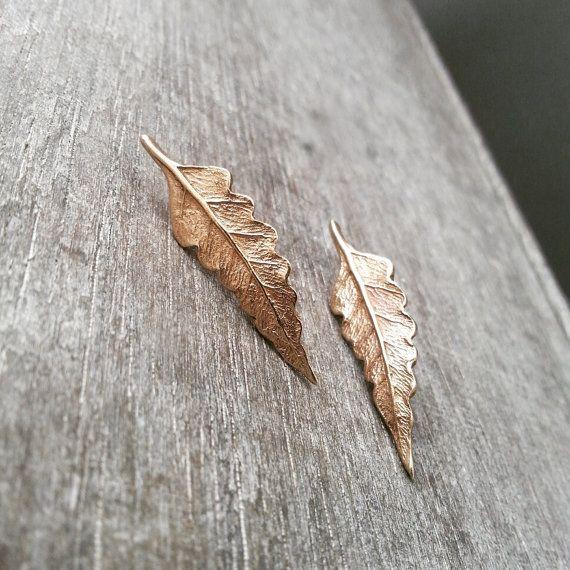 Boucles d'oreilles - Fougère - Studs - Clou d'oreille - Feuille de fougère - Bronze - Métal - Nature - Rustique
