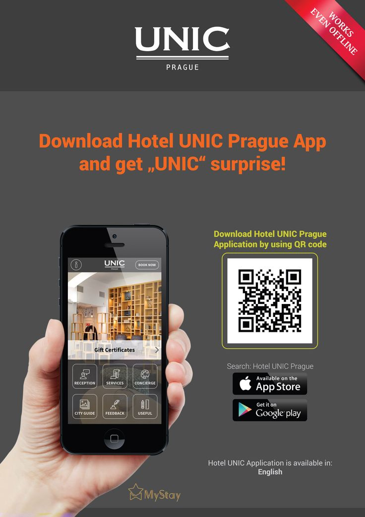 "Download our new HOTEL APP and get ""UNIC"" surprise! Hotel UNIC Prague app helps you to enjoy stay with us even more, thanks to interactive map of Prague (works also offline!), audio guide, weather forecast, currency convertor, transport info, chat with reception and much more..."