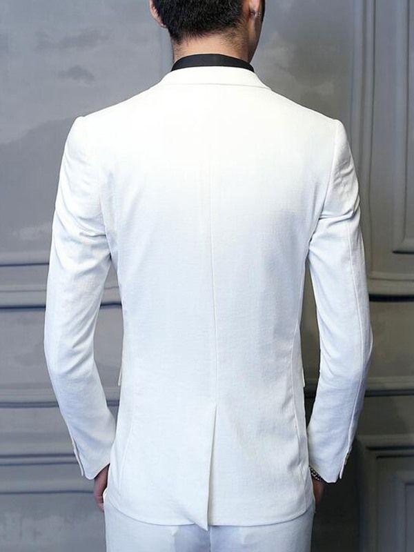 Solid Color Vogue Slim Three-Piece Men's Suit - White