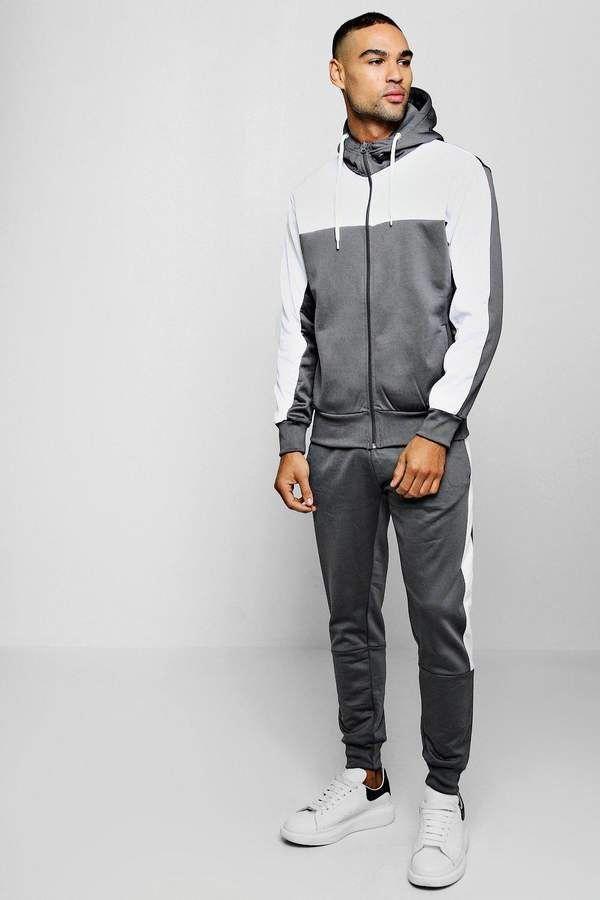 4e871e6169314 Boohoo Mens Sweater MAN Signature Tracksuit With Contrast Tape Fitnessmode