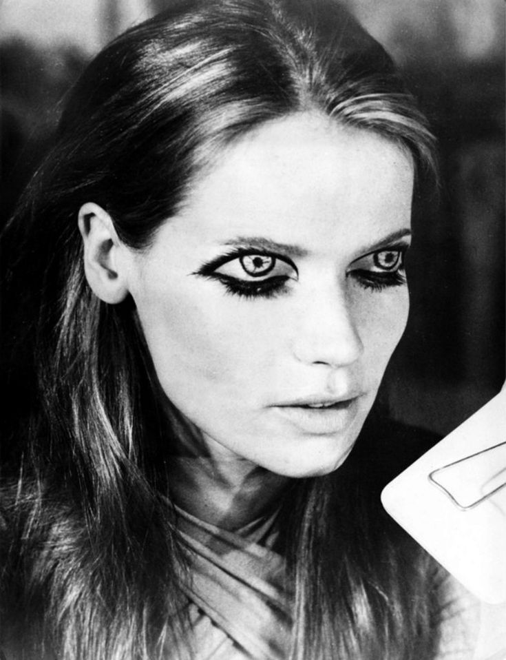 Veruschka von Lendorff - freaky eye makeup.  I see this kind of thing in front of a seamless with some dude's beat up leather jacket