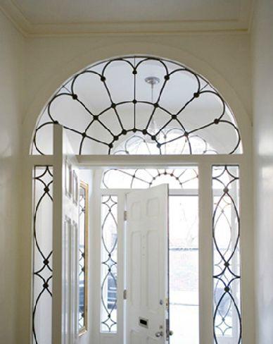 beautiful leaded glass door surround