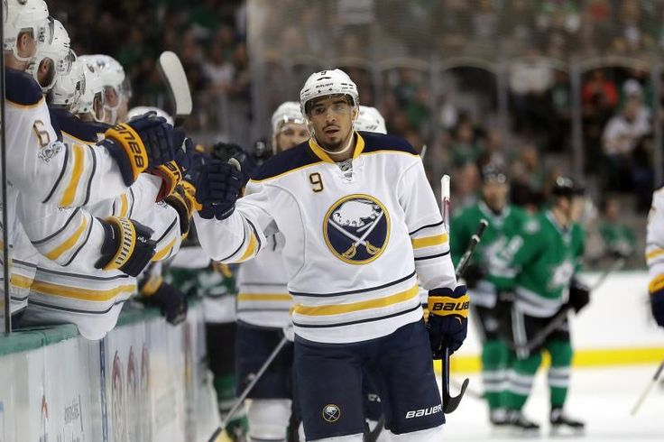DALLAS, TX - JANUARY 26:  Evander Kane #9 of the Buffalo Sabres celebrates a goal against the Dallas Stars in the first period at American Airlines Center on January 26, 2017 in Dallas, Texas.  (Photo by Ronald Martinez/Getty Images)