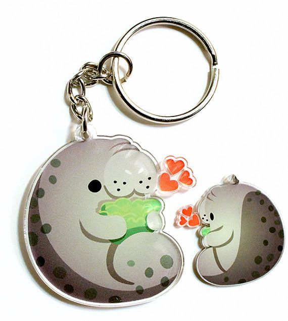 Cute Manatee Keychain, Phone Charm, sea cow, mermaid, animal lover, sea creature, endangered species, kawaii, cute animals