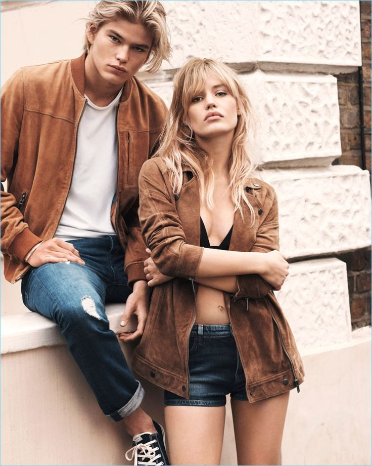 Models Jordan Barrett and Georgia May Jagger come together for Pepe Jeans' spring-summer 2017 campaign.