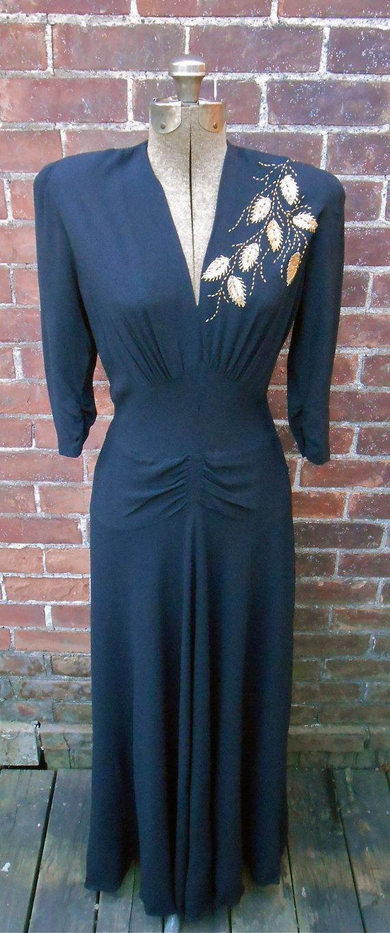 40s Evening Gown with Brass Studded Floral Design Vintage Womens