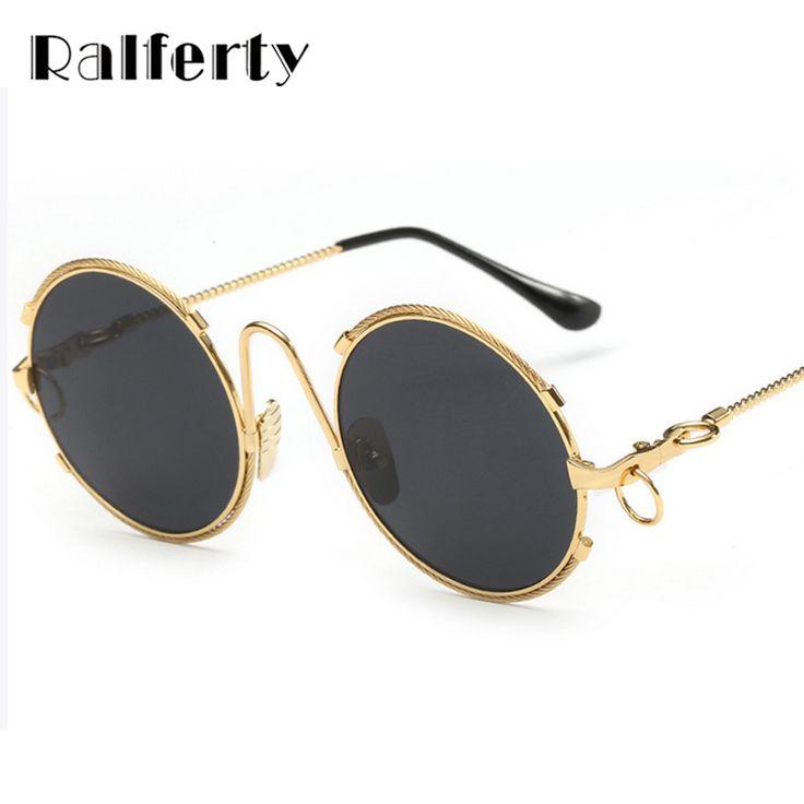 Ralferty Vintage Round Sunglasses Women Steampunk Mirror Retro Big Circle Sun Glasses UV400 Oversized Glasses Shades oculos 1855