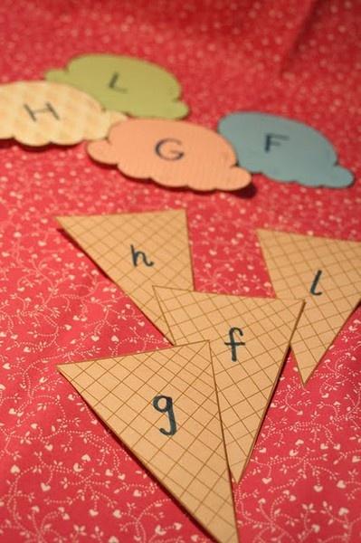 Letter recognition: Folder Games, Cute Ideas, Math Facts, Letters Recognition, Letters Matching, Cases Letters, Kindergarten, Letters Games, Ice Cream Cones