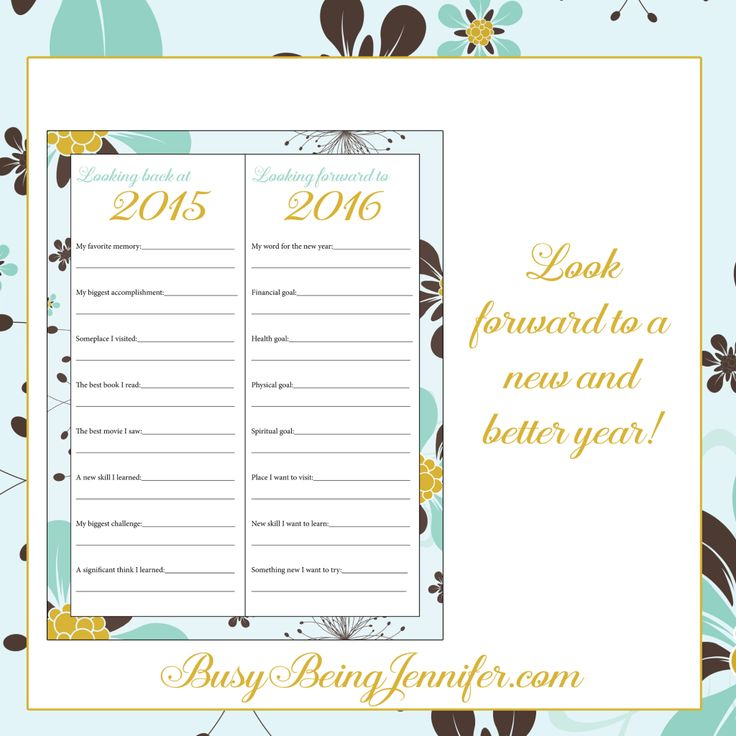 Looking Back and Looking Forward New Years Printable - Busy Being Jennifer