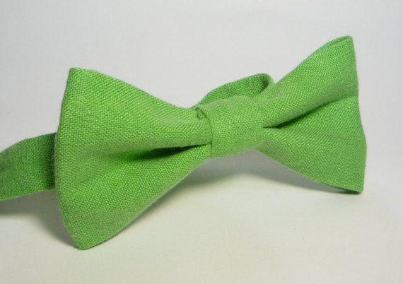 Green Linen bow tie, Mens bow tie, bow ties for men, baby bow tie, boy bow tie