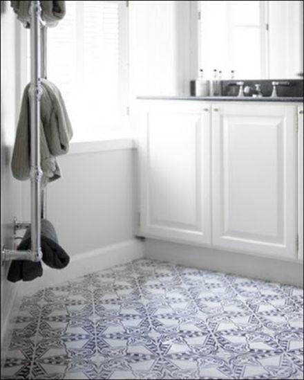 Vad tror du om svartvittrutigt badrumsgolv? - Sköna hem