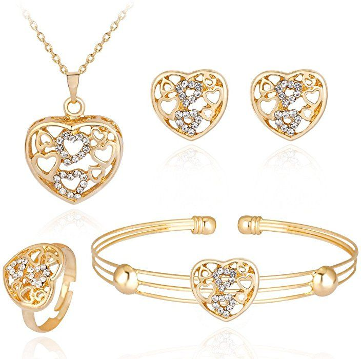 Amazon.com  iLH® Clearance Deals 4 Pcs Jewelry Sets Women Personality  Rhinestone Necklace Bracelet Ring Earrings Jewelry Set Romantic Gift by  ZYooh (J)  ... 03ebe065f614