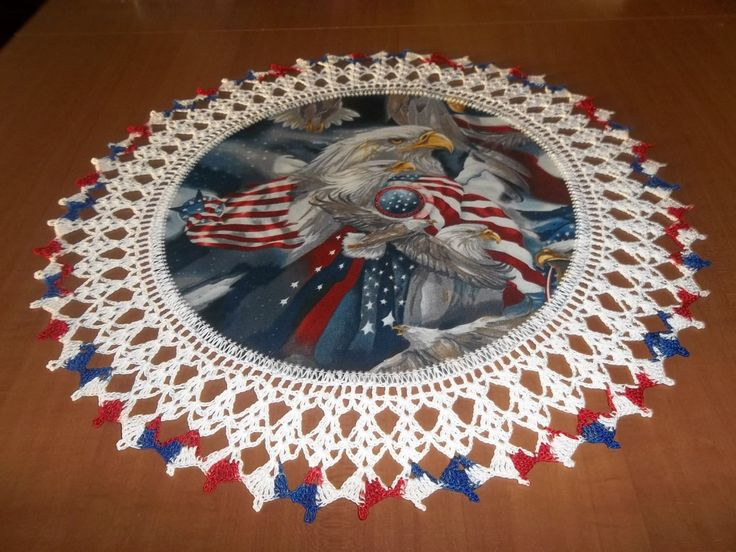 Crocheted Patriots Eagles Americana Doily Fabric Center Crocheted Edge Handmade 20 Inches Centerpiece by bestdoilies on Etsy