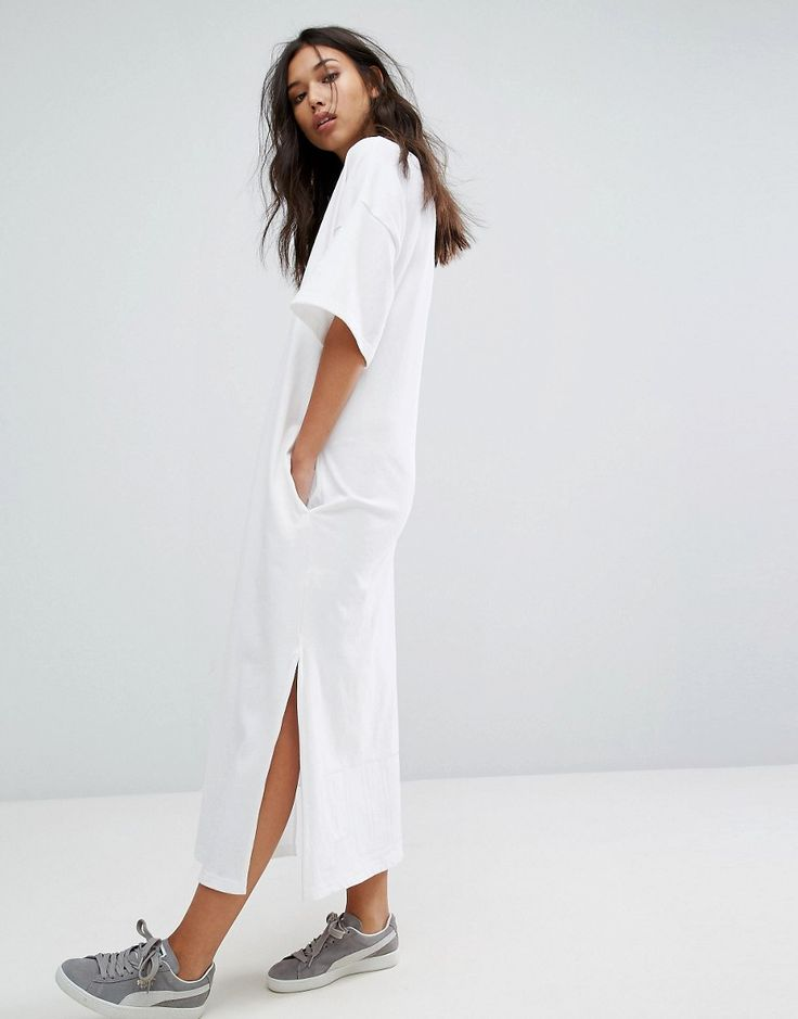 Puma T-Shirt Maxi Dress In White - White