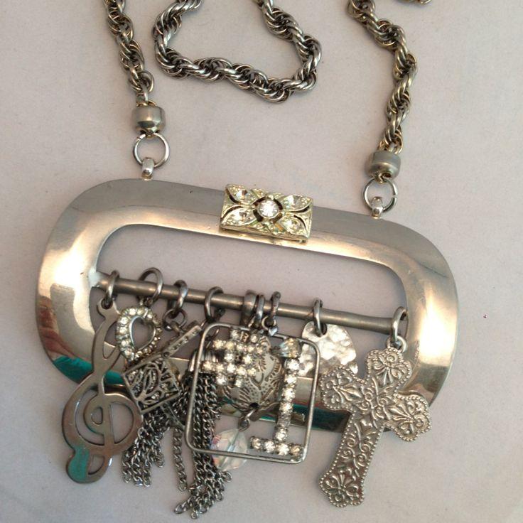 Pendant NecklaceSilvertoneBuckleVintage charmsChunky by ravished, $59.95