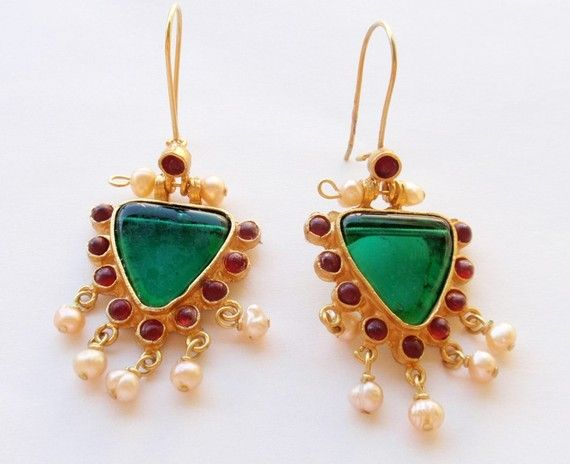 Antique Style Green, Red and Pearl Earrings