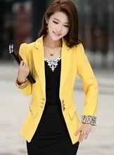 Primavera 2016 nueva moda americana blanca para mujeres chaqueta delgada para mujer blazers y chaquetas más tamaño para juego de la señora blazers amarillo(China (Mainland))