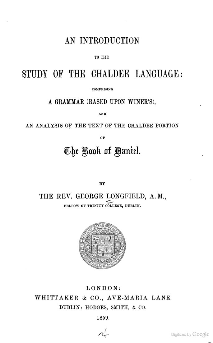 An Introduction To The Study Of The Chaldee Language Comprising A