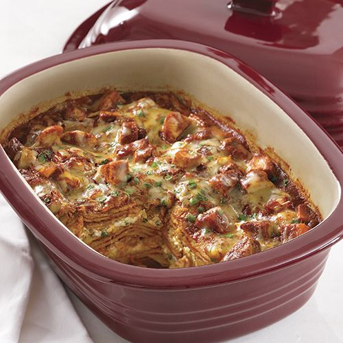 "So easy! Can be made in the Pampered Chef Rock Crok too!  Mexican Chicken ""Lasagna"" - The Pampered Chef® www.pamperedchef.biz/jamiedjohnson"