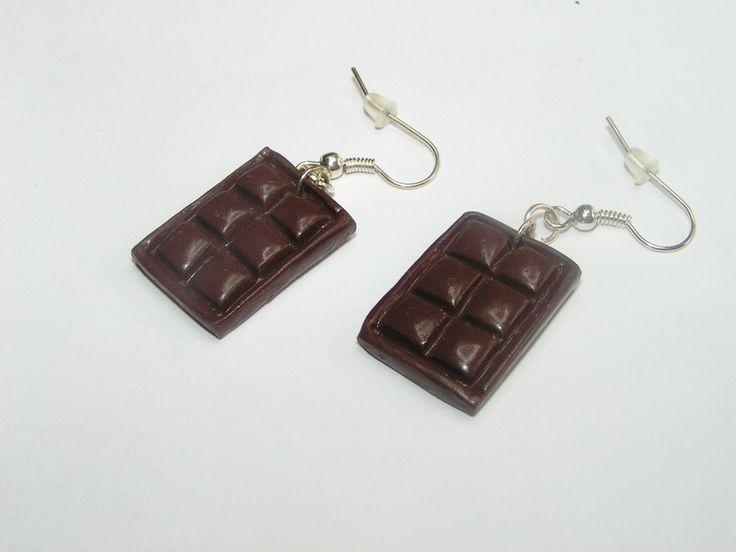 boucles d'oreilles plaque de chocolat fimo de Jewelry fimo sur DaWanda.com