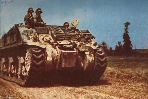 "Canadian ""Kangaroo"", armoured personnel carrier, in Normandy, summer of 1944."