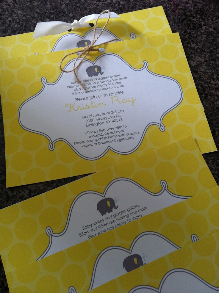 baby shower invitation wording for bringing diapers%0A Baby Sprinkle Invitation  I u    d want a Sprinkle Gender reveal party  Yellow