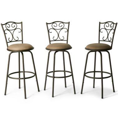 Counter Height Marquee 3-Piece Bar Set : bar stools kitchen kitchen bars kitchen storage wooden bar stools ...