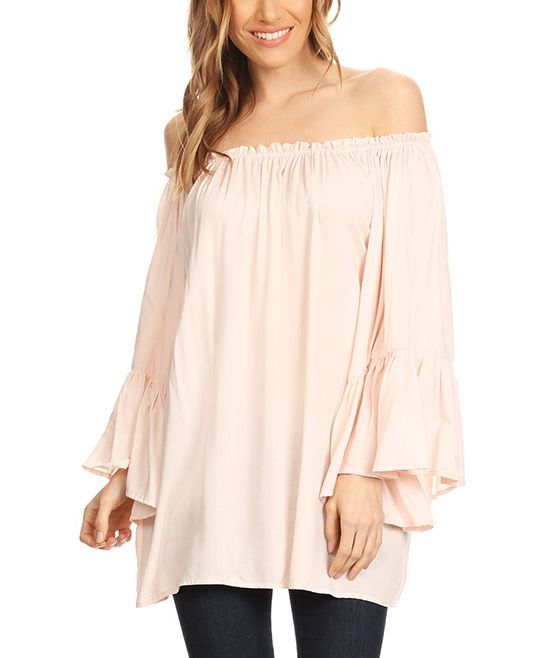 Blush Bell-Sleeve Off-Shoulder Tunic - Plus Too