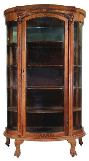 China Cabinet Quarter Sawn Oak With Curved Glass Sides